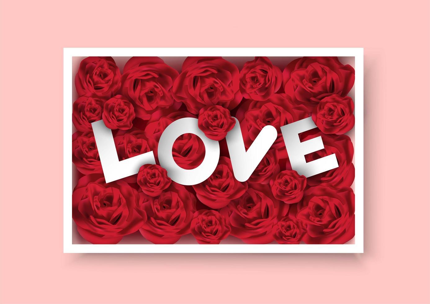 Valentijnsdag vak rozen met liefde tekst binnen vector