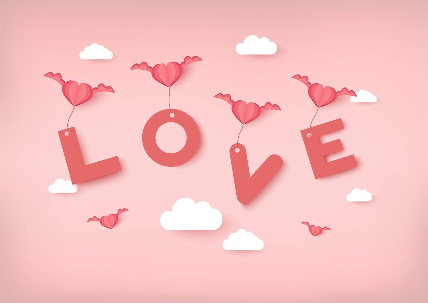 De vectorachtergrond van de valentijnskaartendag met roze harten die Liefdetekst dragen vector