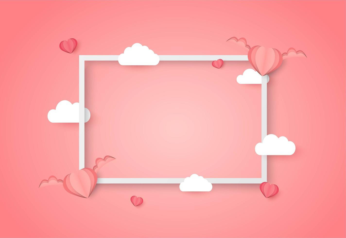 De dag van Valentijnskaarten frame met lege ruimte en gevleugelde harten en wolken vector