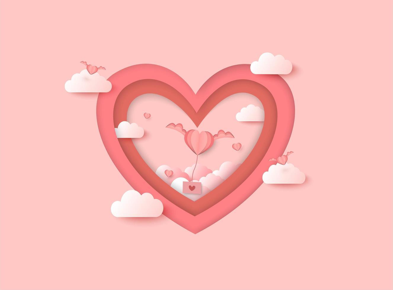 Het valentijnskaartendocument sneed achtergrond met wolken en vliegend hart over hartvorm vector