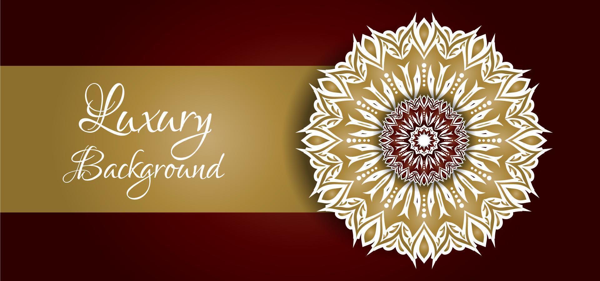 Gouden en witte mandala-ontwerp op rode achtergrond vector