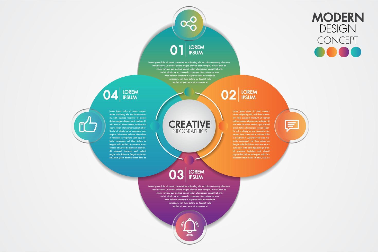 Zakelijke infographics element. Cirkel grafieksjabloon grafiek met 4 stappen vector