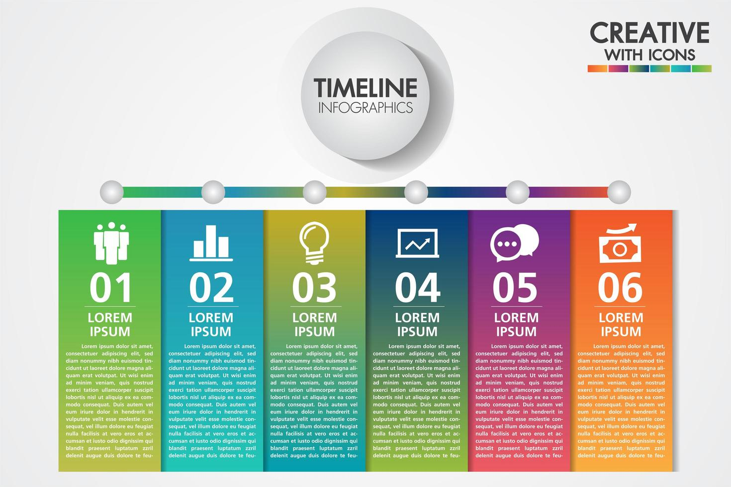 Zakelijke infographics sjabloon. Presentatie met 6 stappen of opties vector