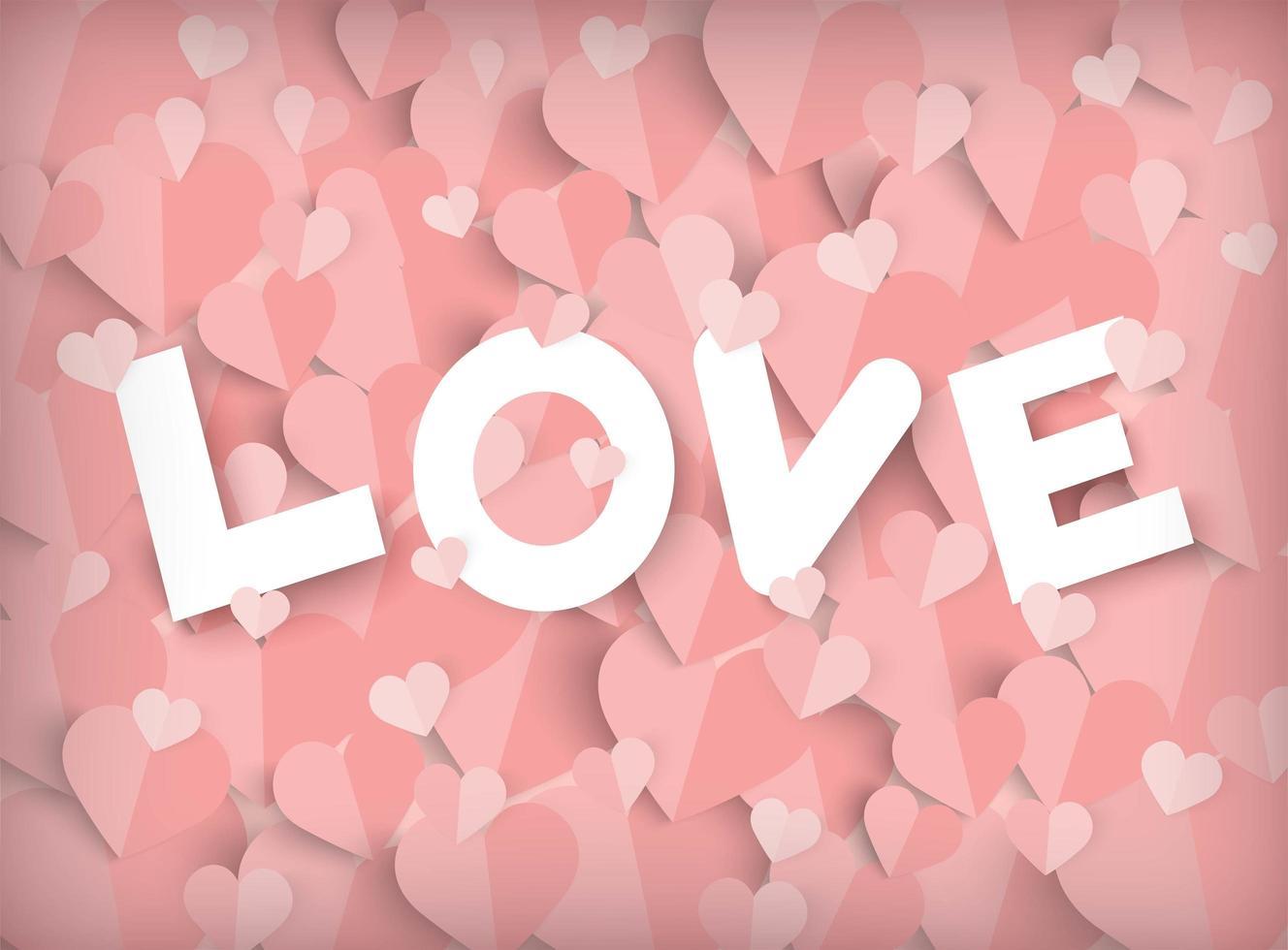 De roze achtergrond van de valentijnskaartendag met document sneed harten en liefdetekst vector