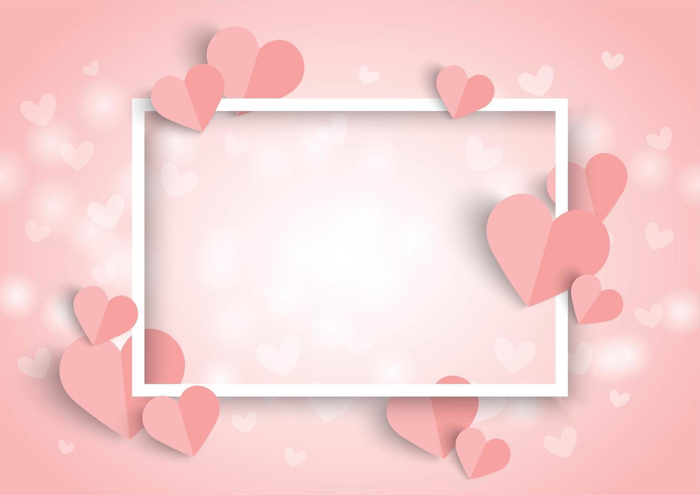 Valentines roze hart achtergrond, wit frame en papier gesneden hart vorm vector