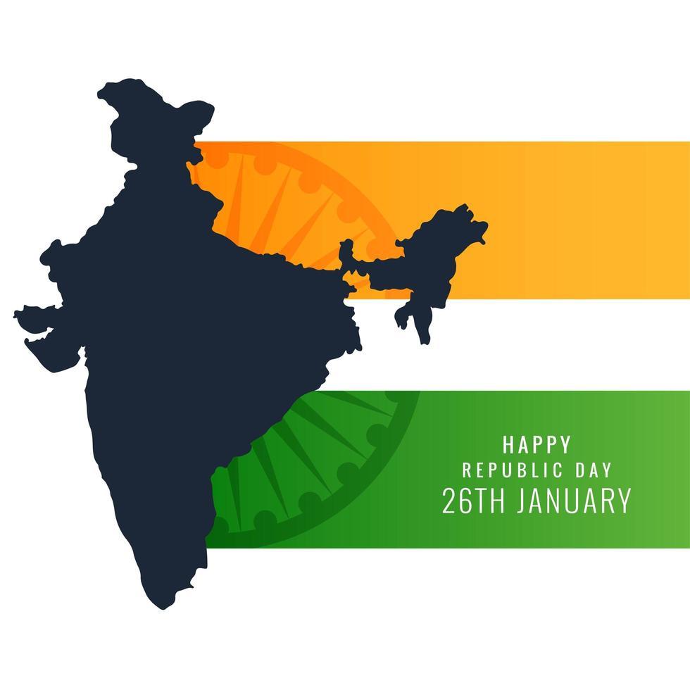 Republiek India kaart gemaakt door Indiase vlag ontwerp vector