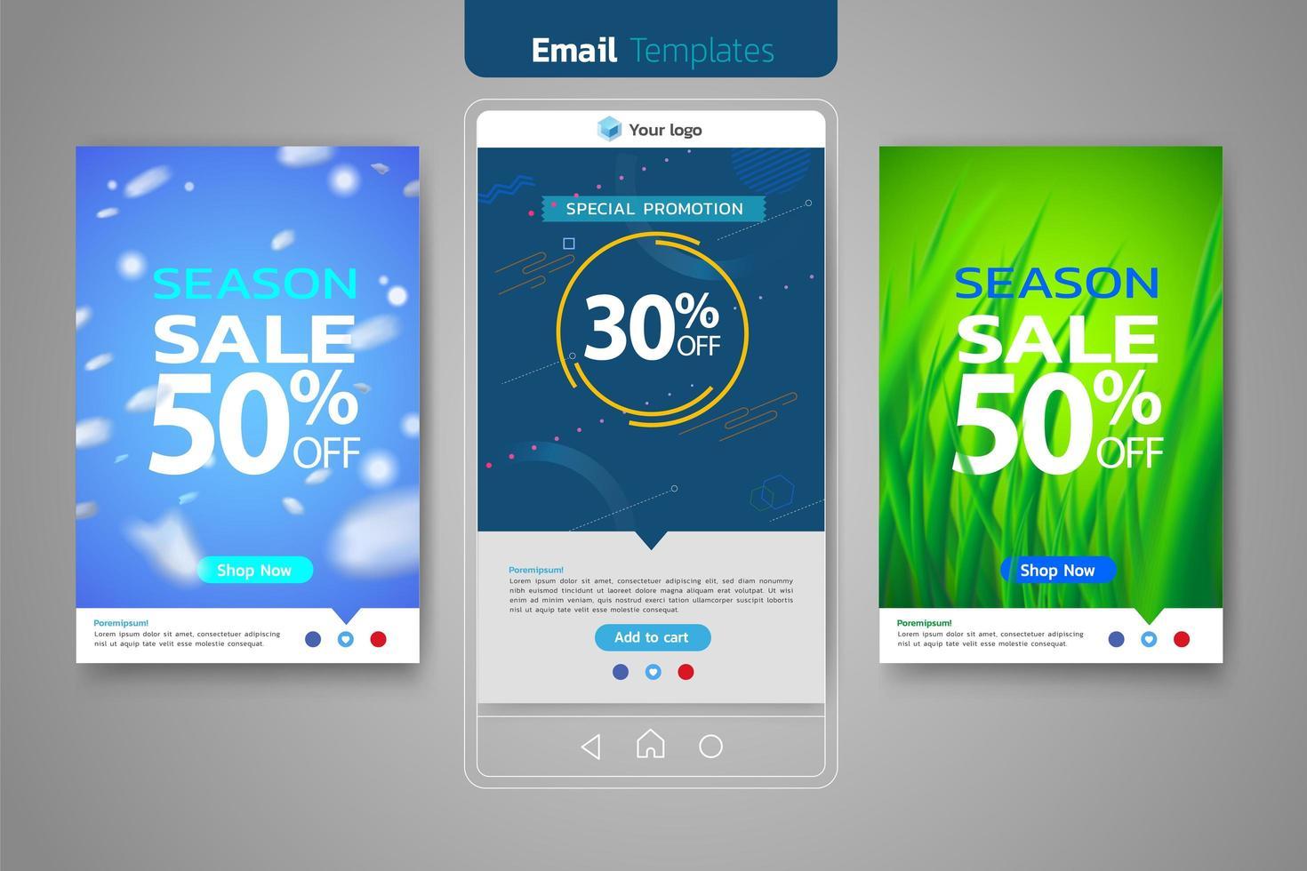 Verkoop via e-mail ingesteld voor sjabloon voor sociale media vector