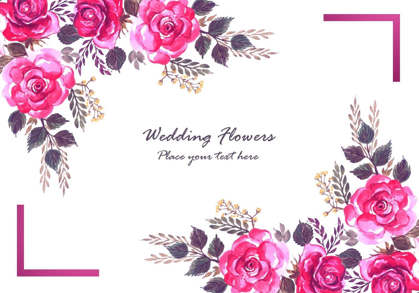 Decoratieve kleurrijke bloemen en paarse frame kaart vector