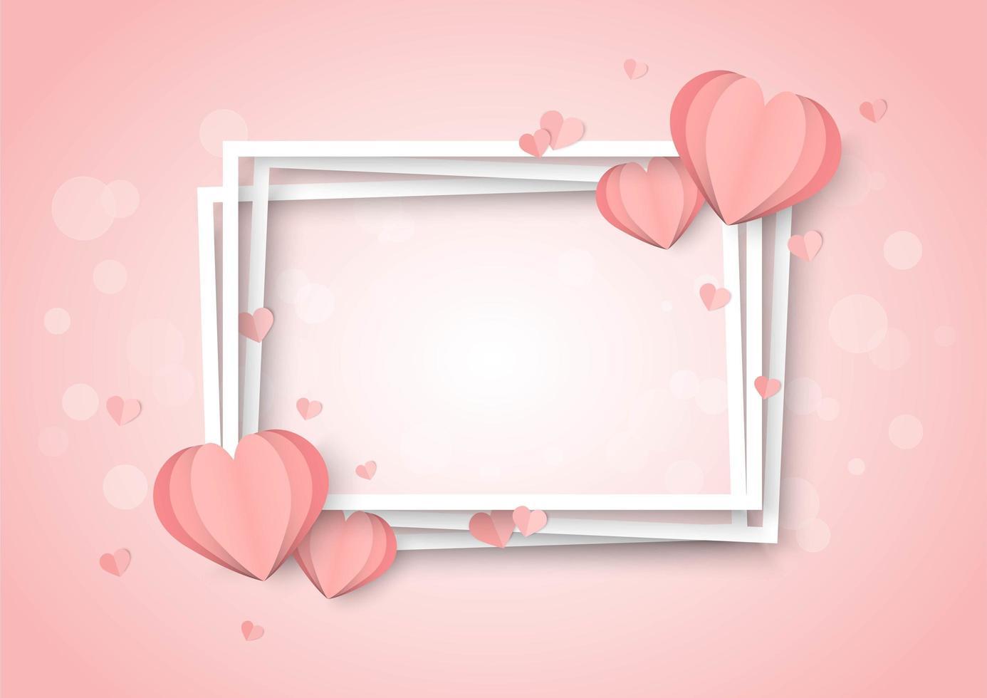 De roze achtergrond van de valentijnskaartendag met hartvormen en gestapelde witte kaders vector