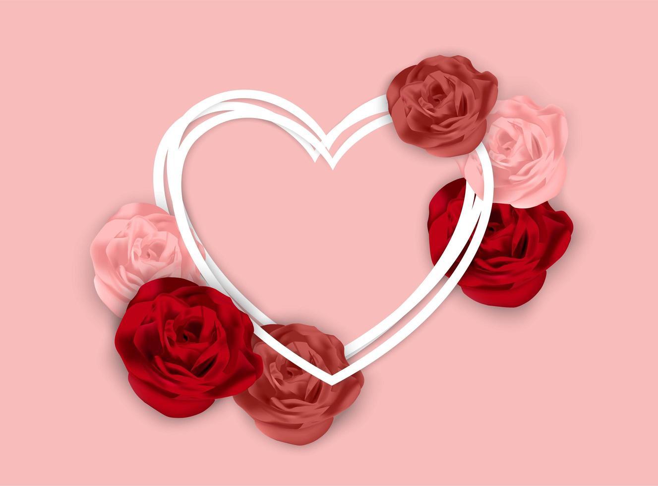 De roze achtergrond van de valentijnskaartendag met rozen en gelaagd hartframe vector