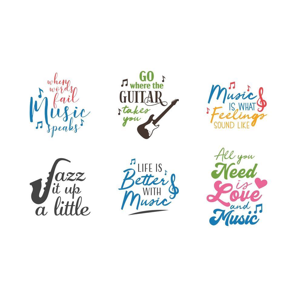 Muziek citaat belettering typografie set vector