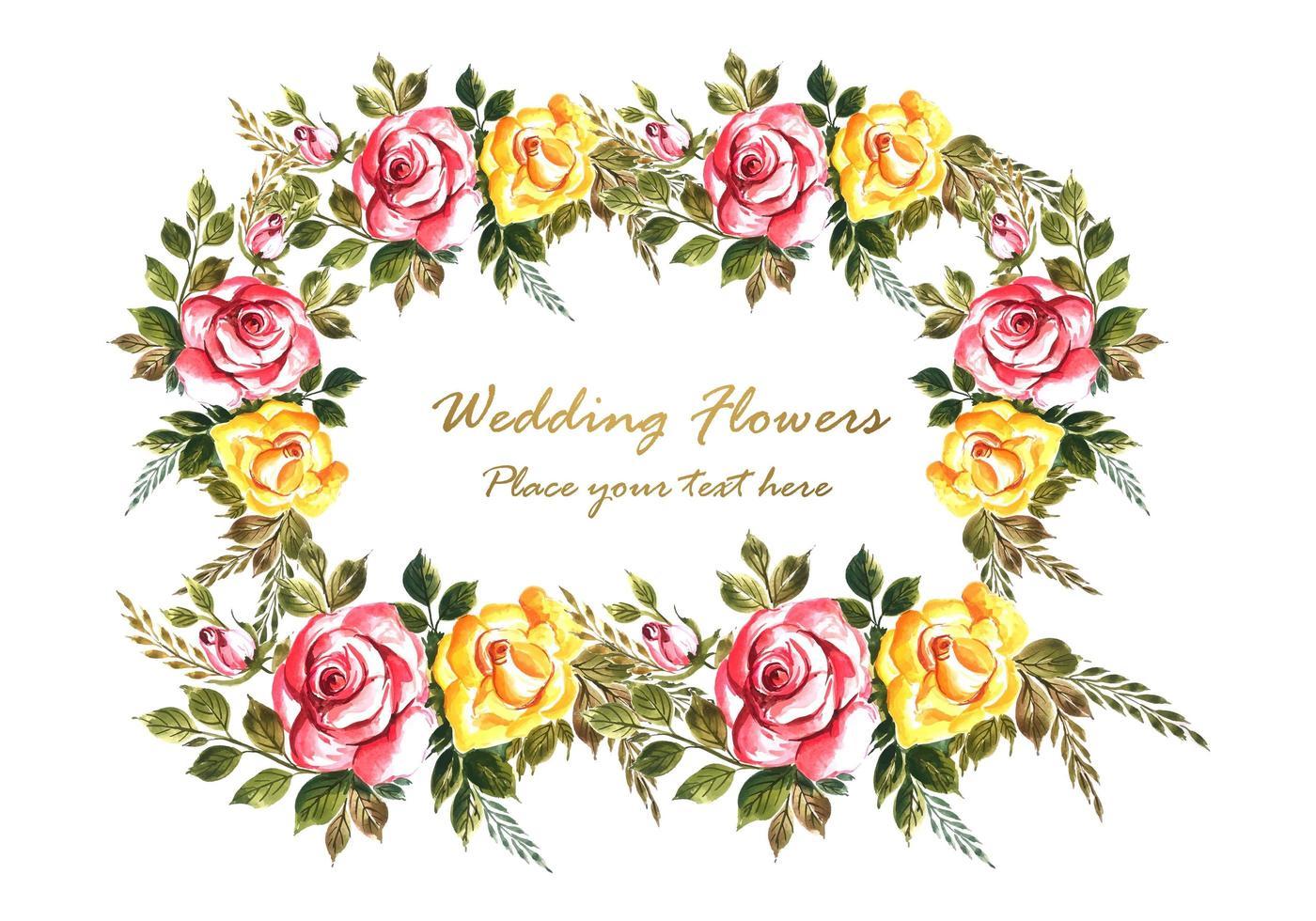 Romantisch huwelijk bloemen kaart achtergrond vector