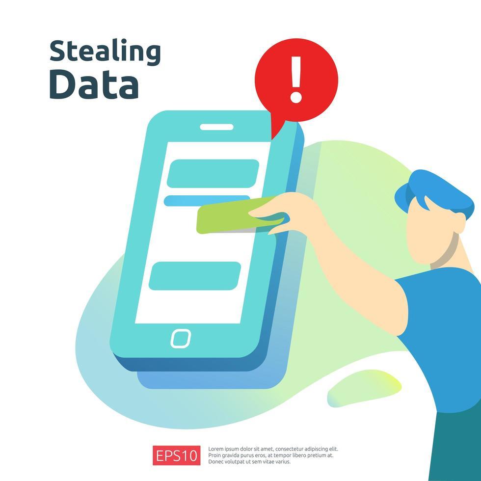 het stelen van persoonlijke gegevens vector