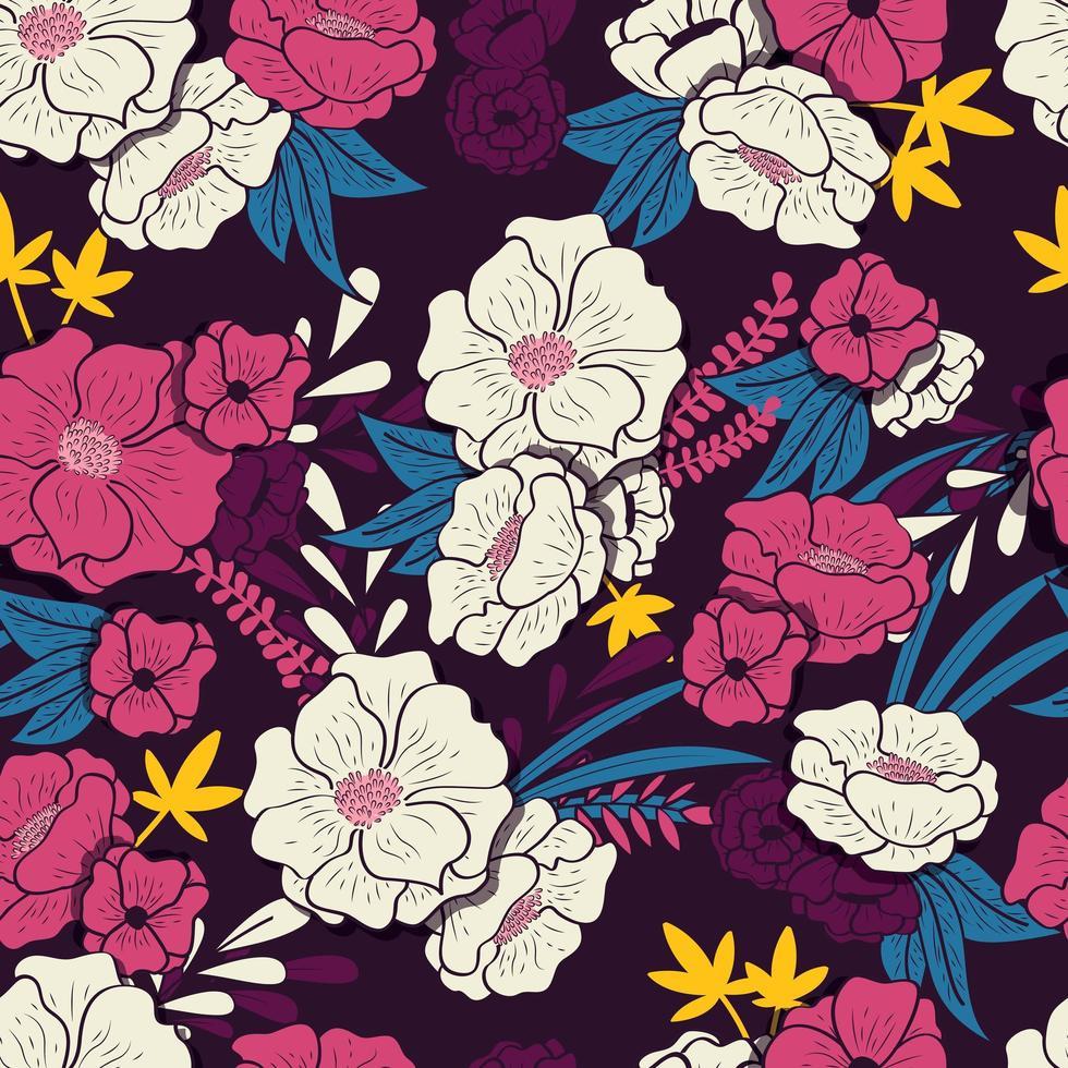 Floral jungle met slangen naadloos patroon vector