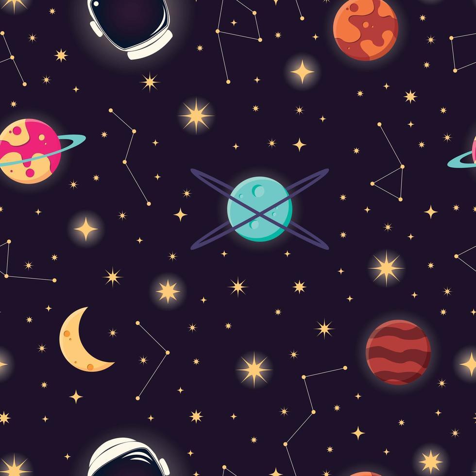 Universum met planeten, sterren en astronautenhelm naadloos patroon vector