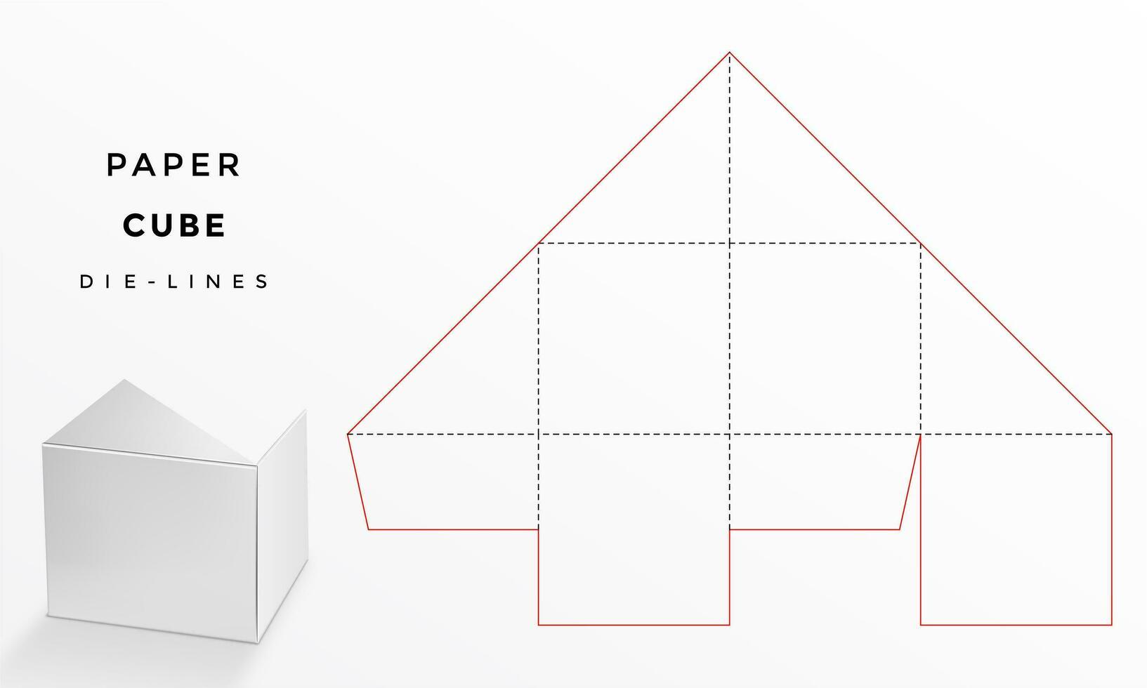 papieren kubus sjabloon met die-lijnen vector