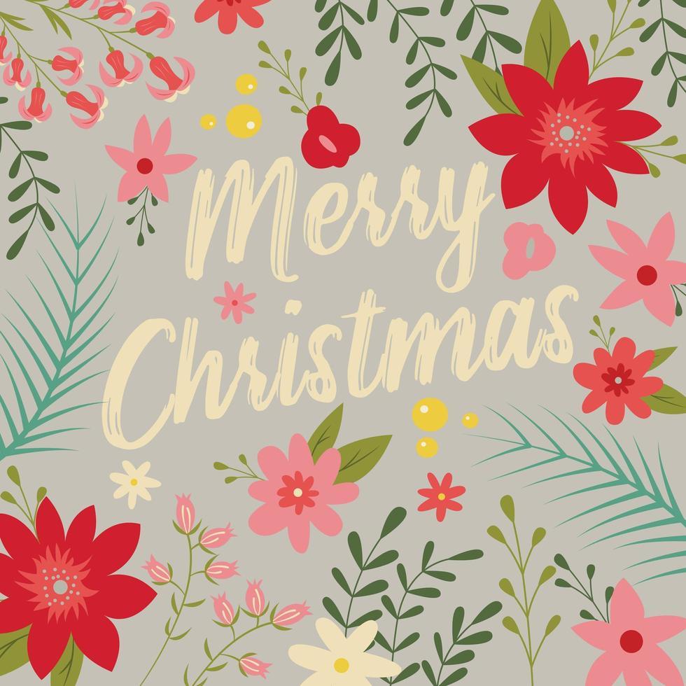 Typografische vrolijk kerstfeest met florale elementen vector