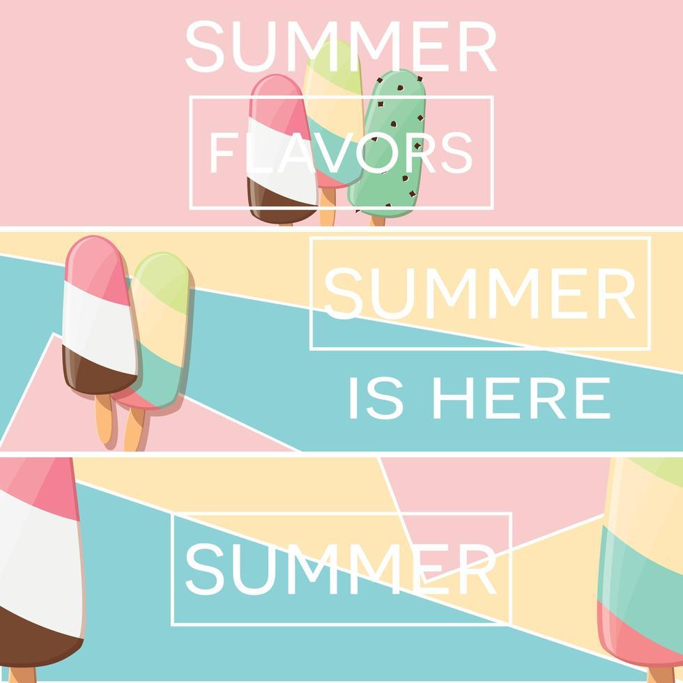 Drie zomerposterontwerpen met ijs en geometrische elementen vector