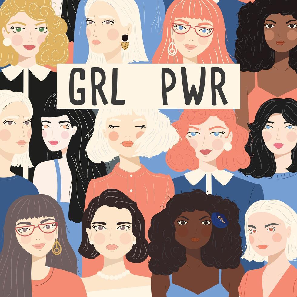 Groep portretten van diverse vrouwen vector
