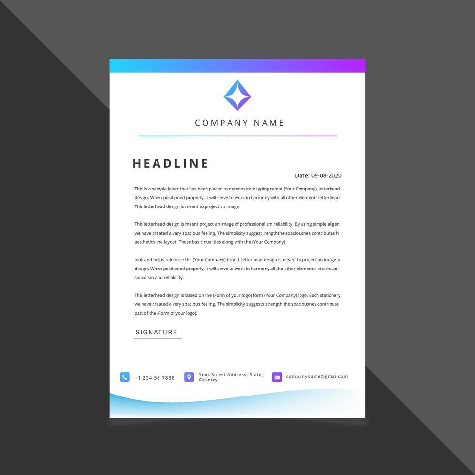 Blauw en paars gradiënt briefpapier sjabloon vector