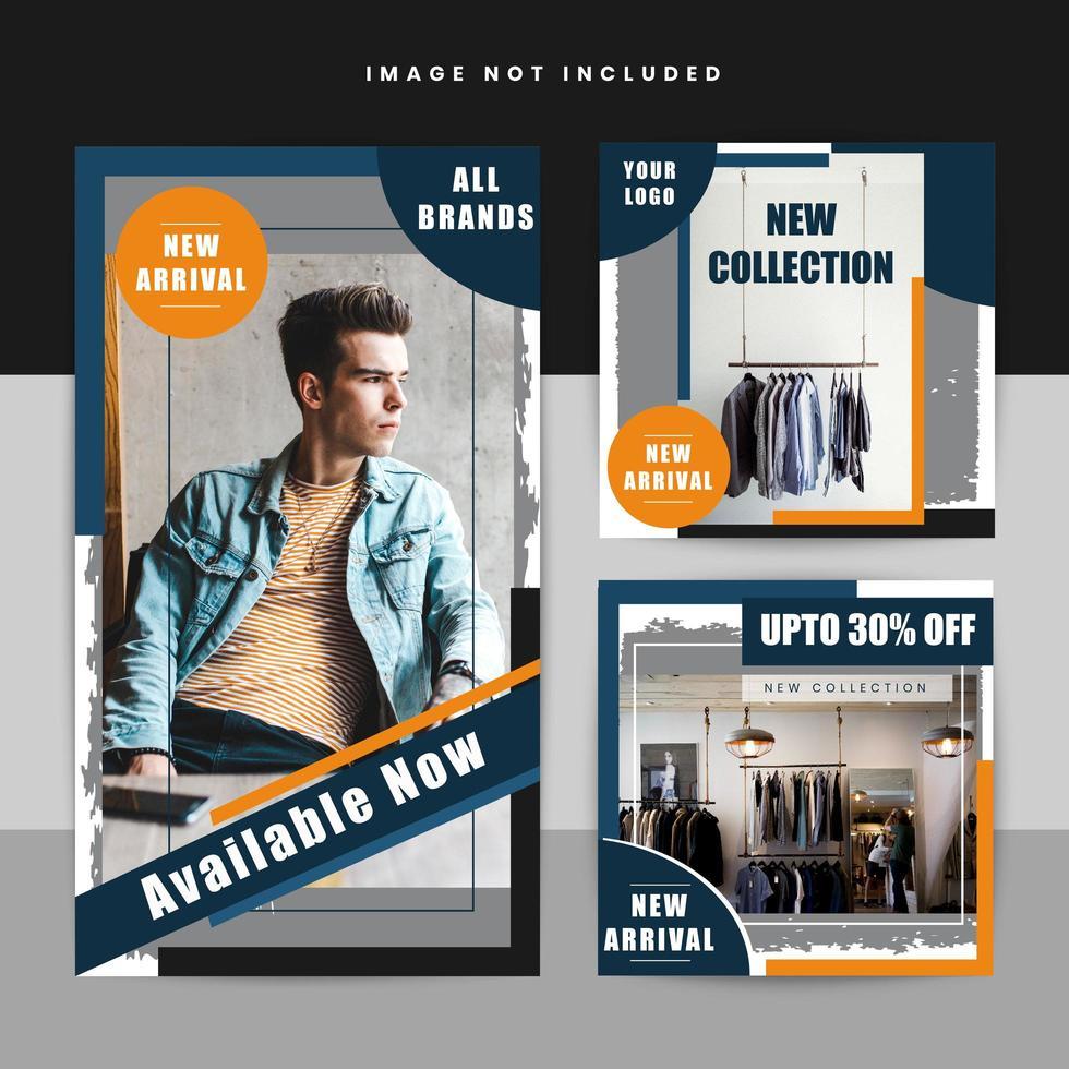 Mode verkoop grunge sociale media poster vector