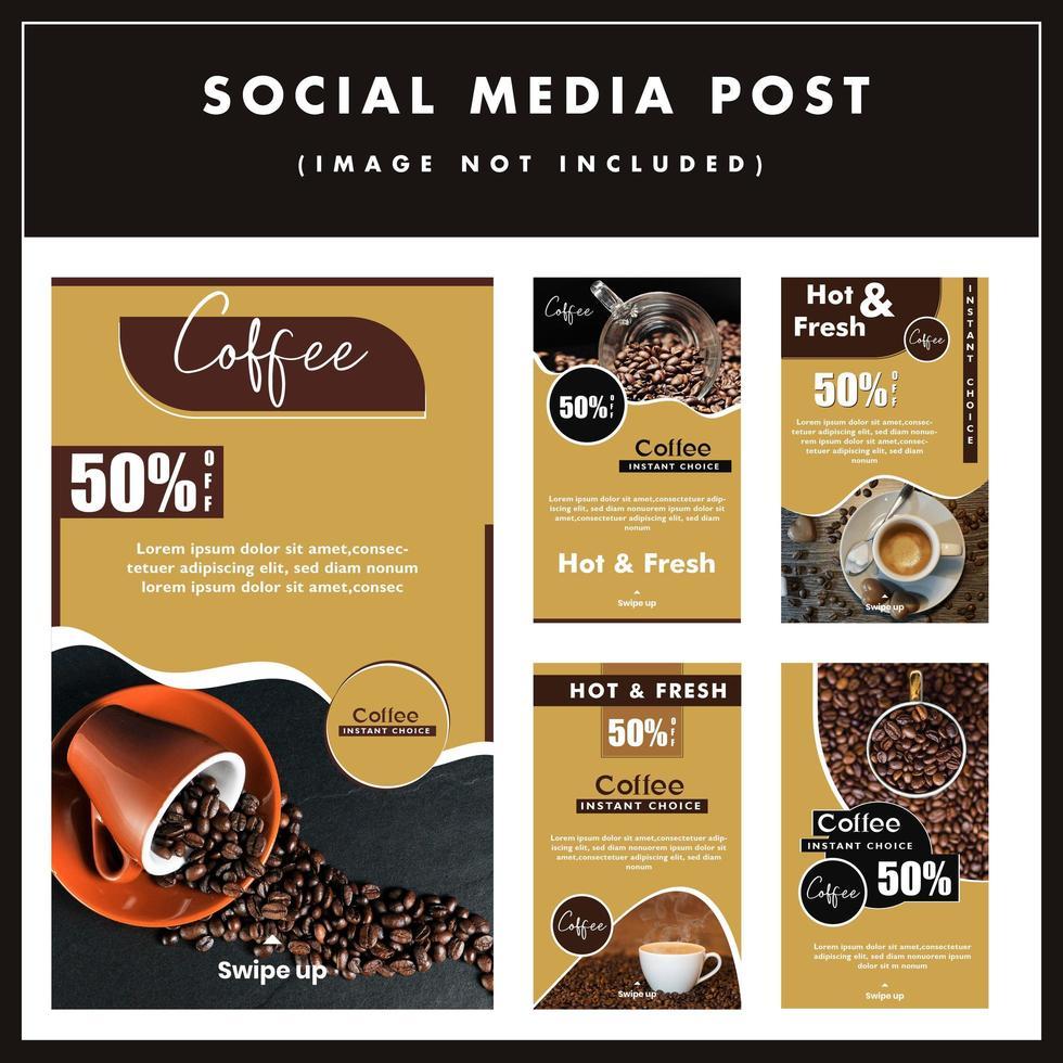 Grote set koffie verkoop sociale media posterontwerp vector