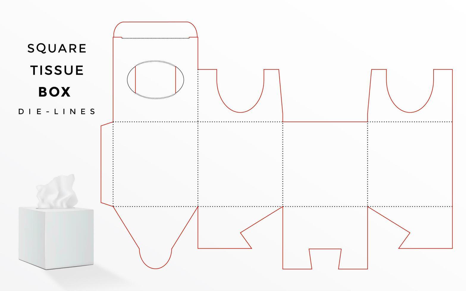 box dieline voor vierkante tissuedoos vector
