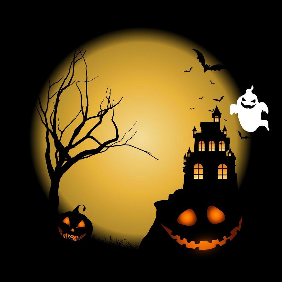 Halloween-achtergrond met pompoenen tegen kasteellandschap vector