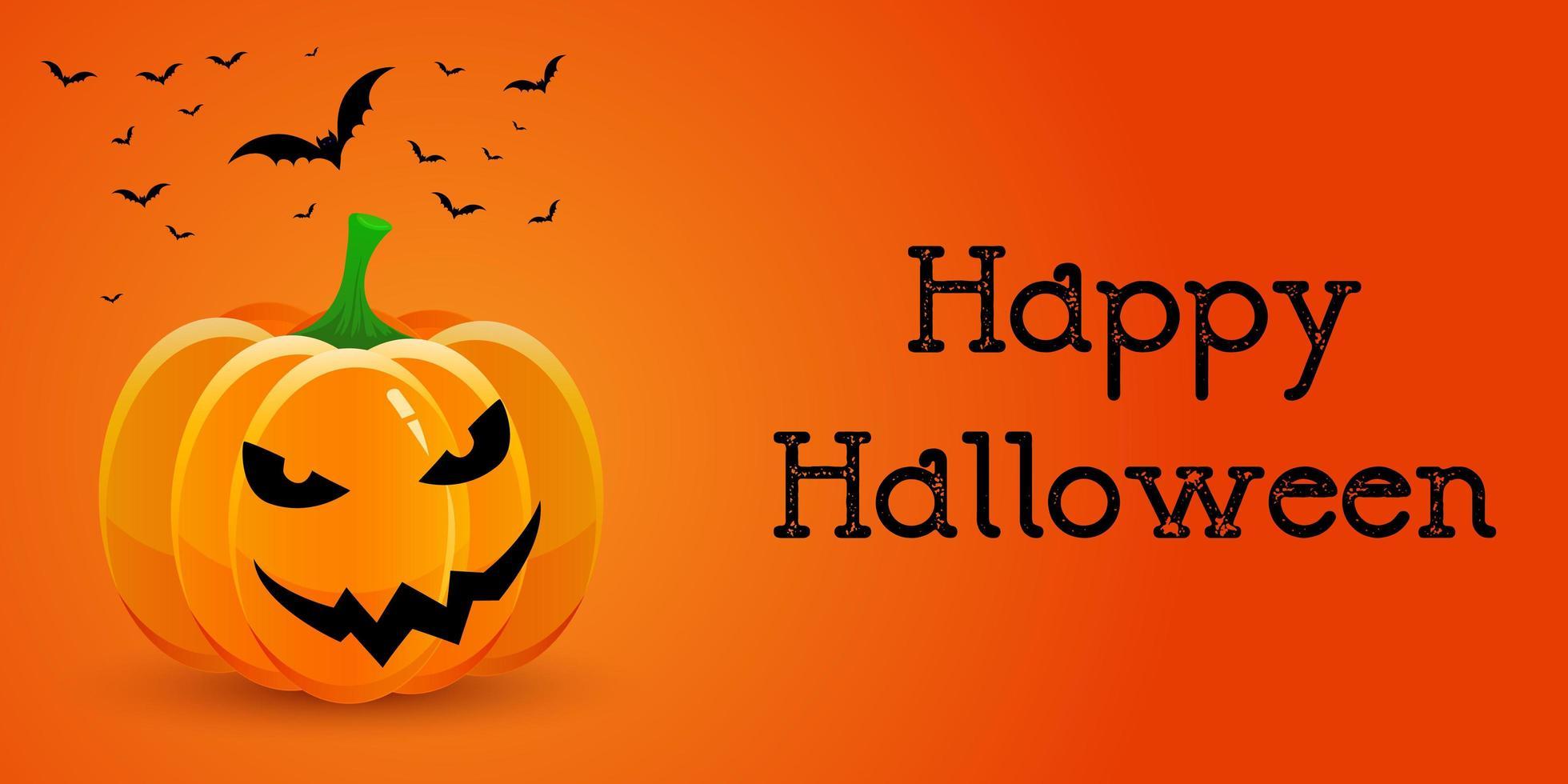 Halloween banner met pompoen en vleermuizen vector