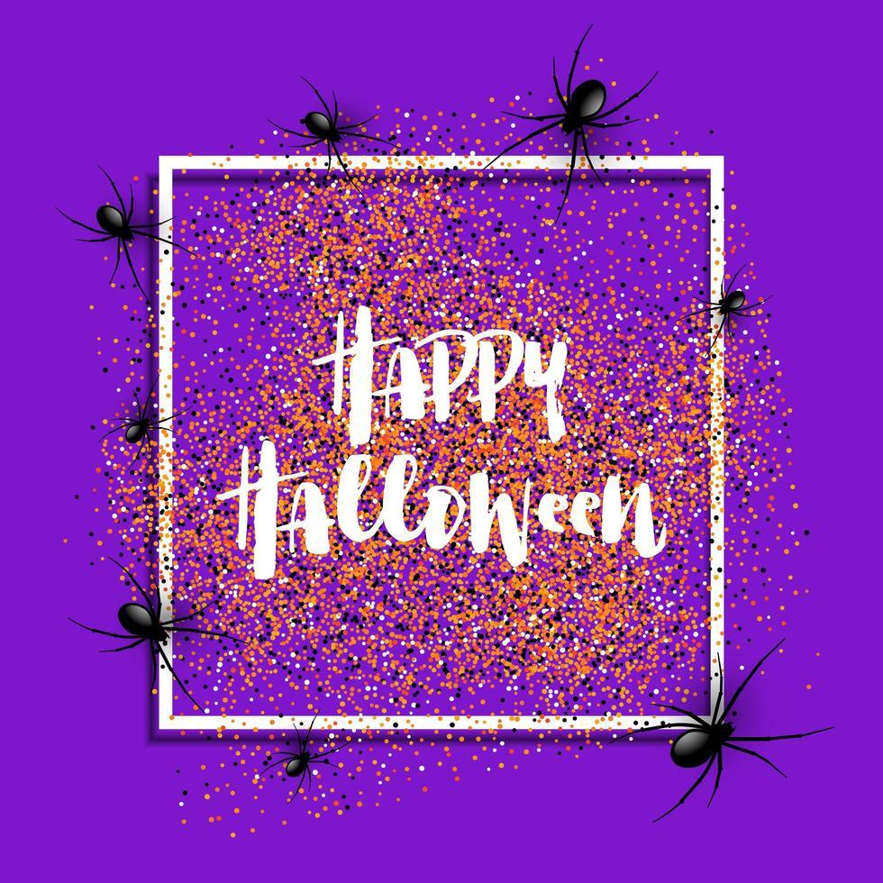 Halloween-achtergrond met spinnen op wit kader vector