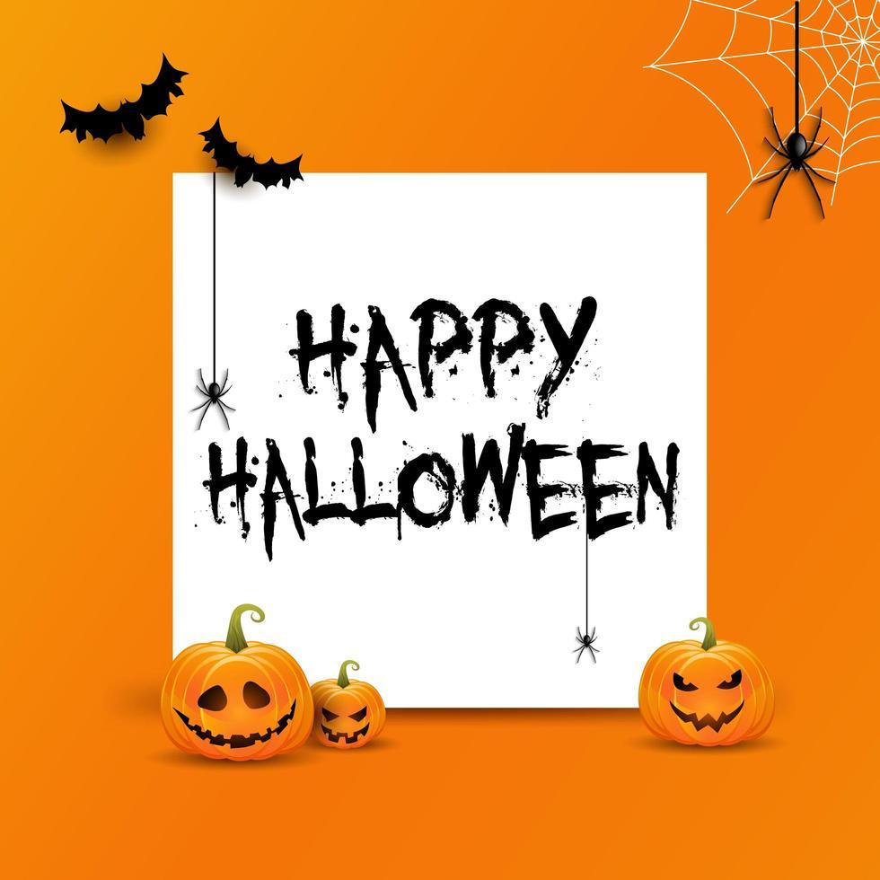 Halloween-achtergrond met witte ruimte voor tekst en pompoenen vector
