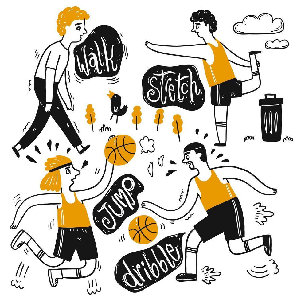 Cartoon set van actieve mensen vector