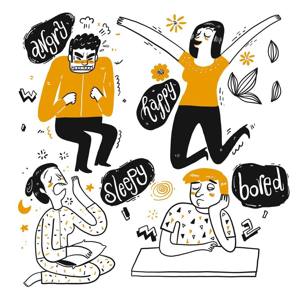 Set cartoon mensen tonen emotie vector