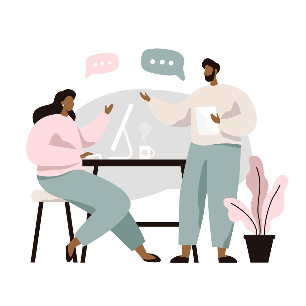 Twee mensen aan tafel zitten en ideeën bespreken vector