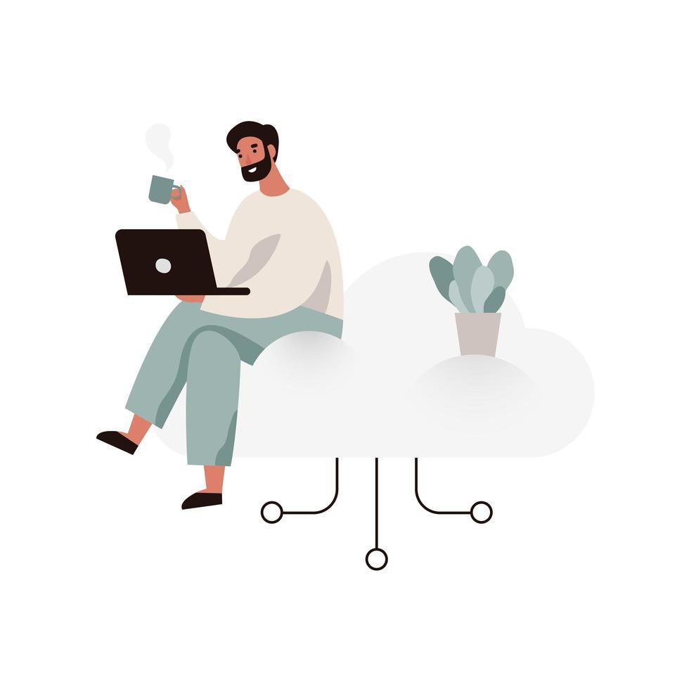 Man aan het werk op een laptop en zittend op een wolk vector