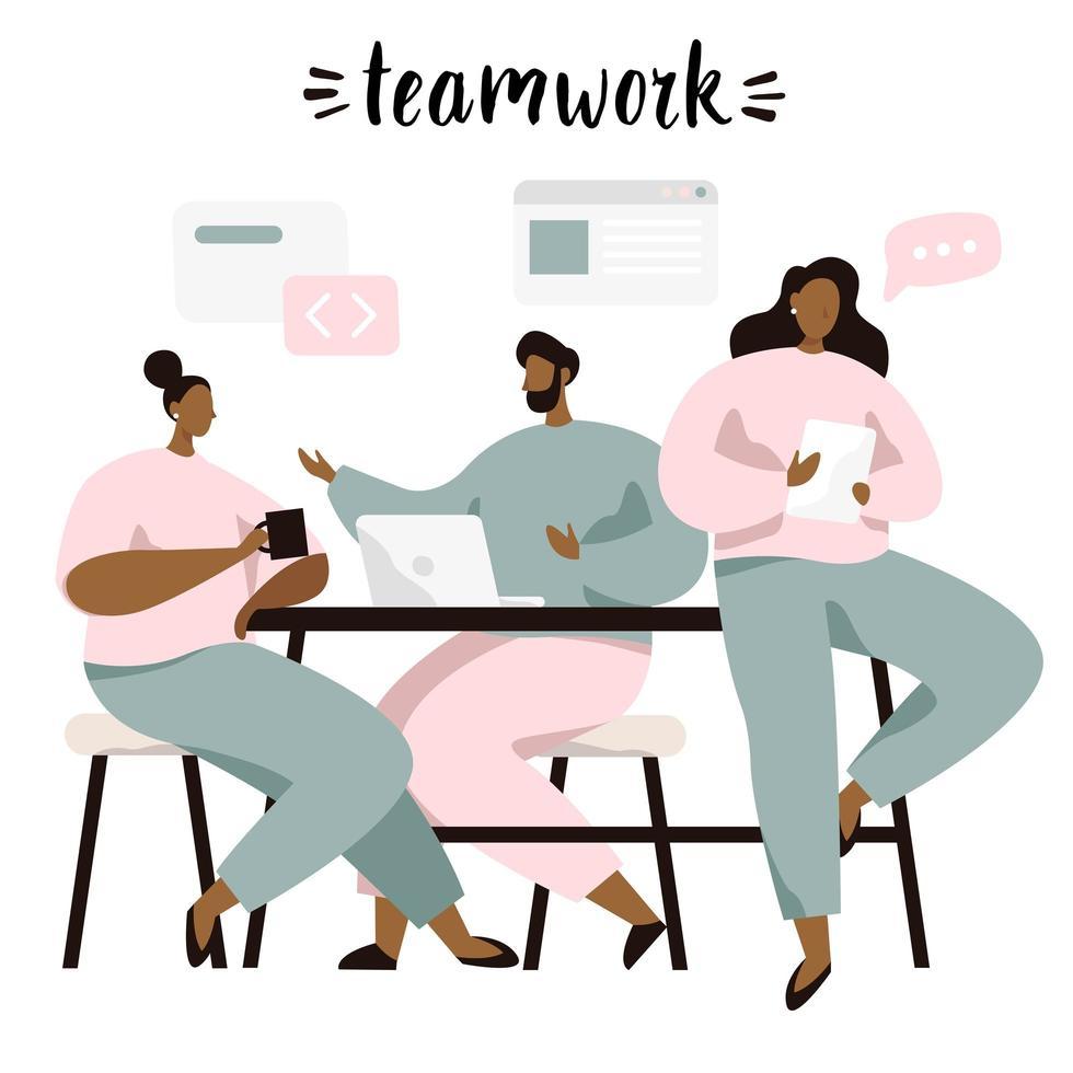 Brainstormen en teamwerk, mensen die ideeën bespreken vector