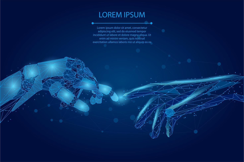Laag poly draadframe mens en robot handen aanraken met vingers vector