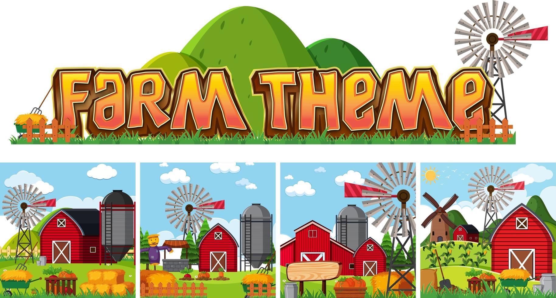Set van boerderij thema vector