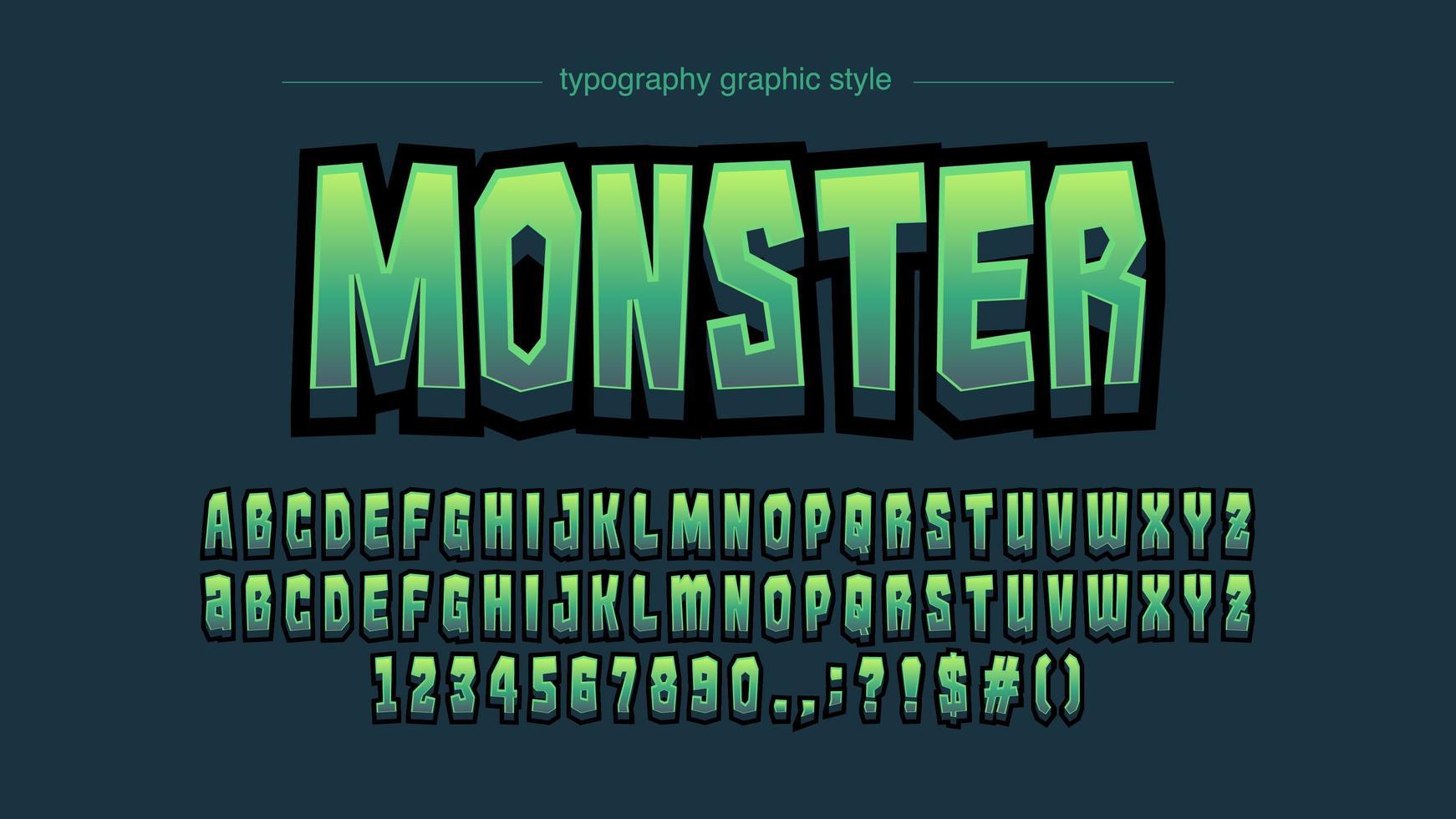 groene strips artistieke lettertype vector