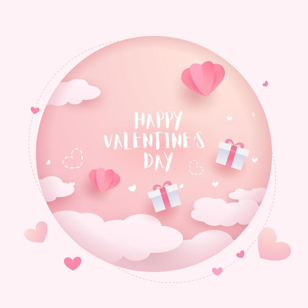 Happy Valentine's Day kaart papier achtergrond vector