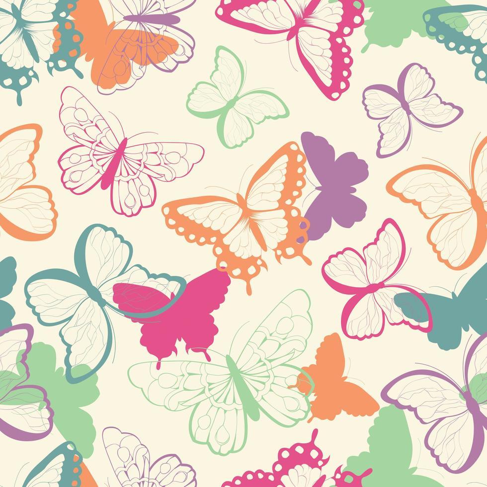 Naadloos vectorpatroon met hand getrokken kleurrijke vlinders vector
