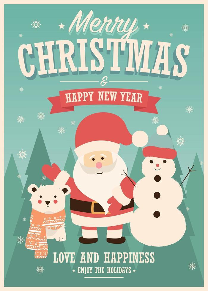 Kerstkaart met Santa Claus, sneeuwpop en rendieren, winterlandschap vector