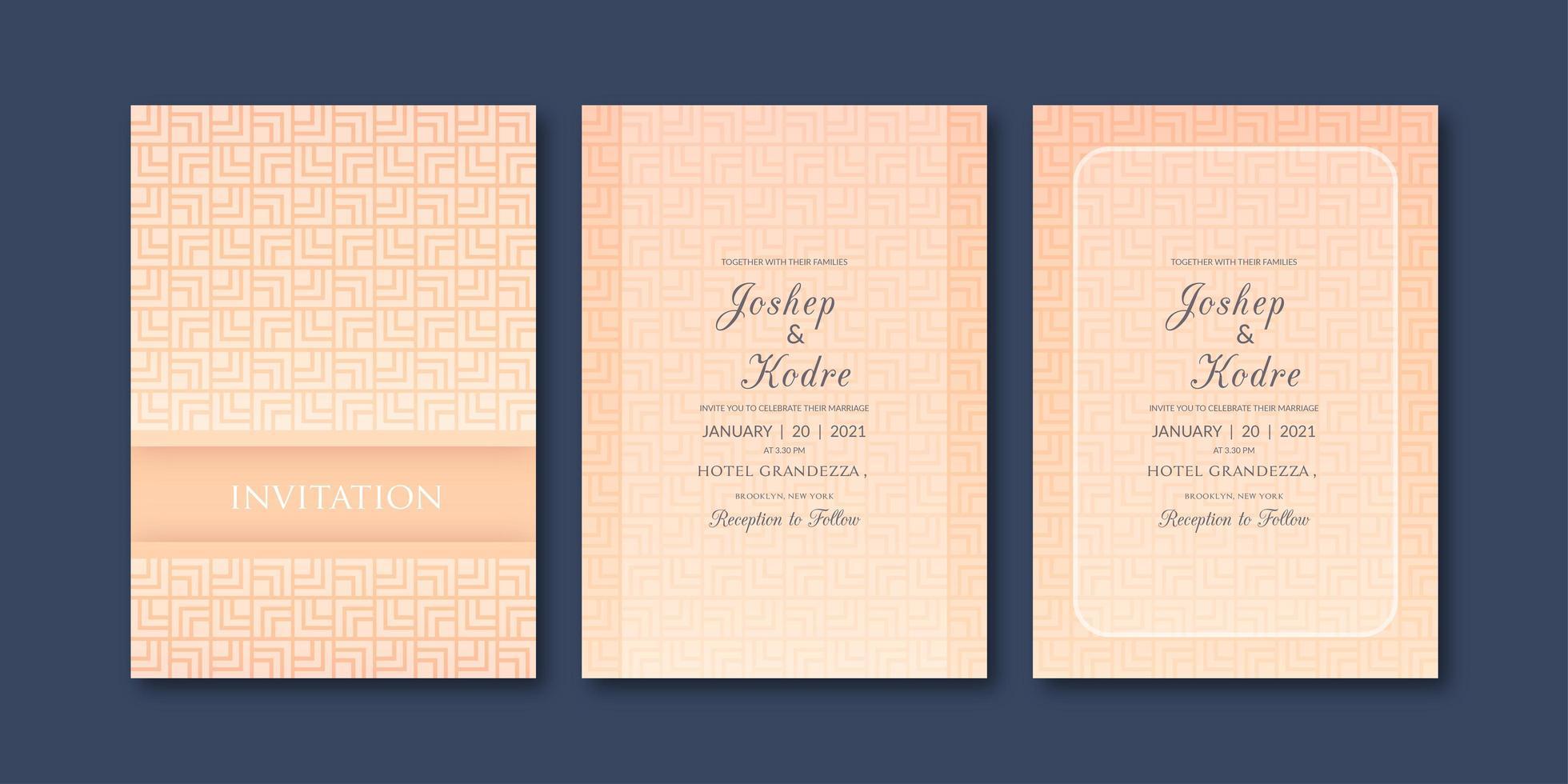 Elegante geometrische patroon bruiloft uitnodiging sjabloon vector