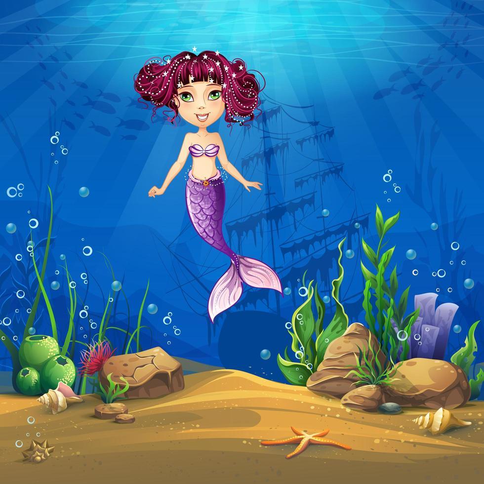 Marine Life Cartoon landschap met zeemeermin vector