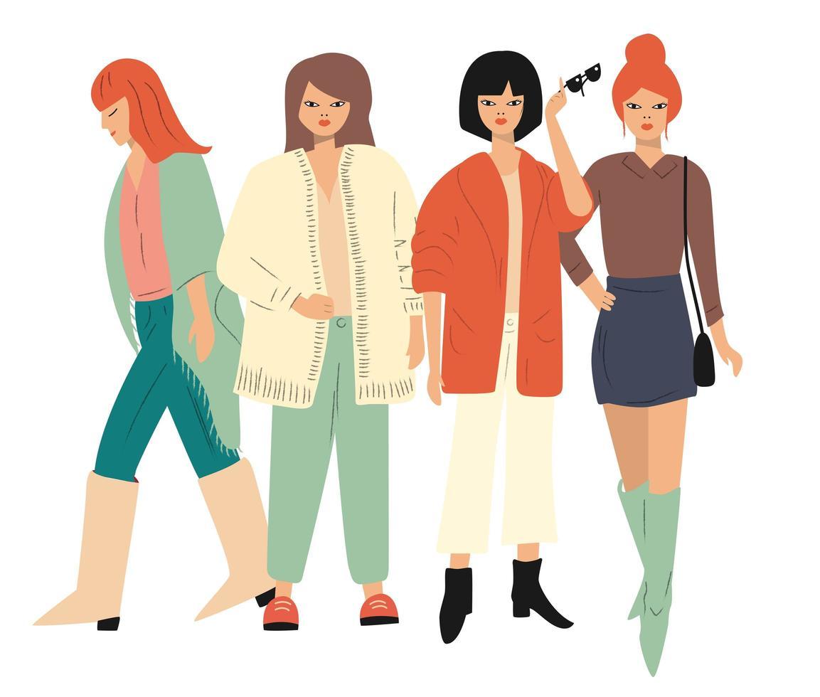 Vier jonge vrouwen in en de herfstkleren die bevinden zich lopen vector