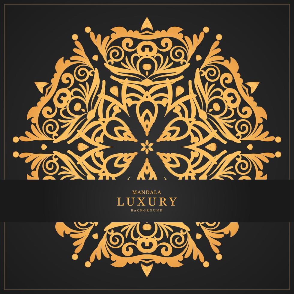 Luxe gouden mandala en banner vector