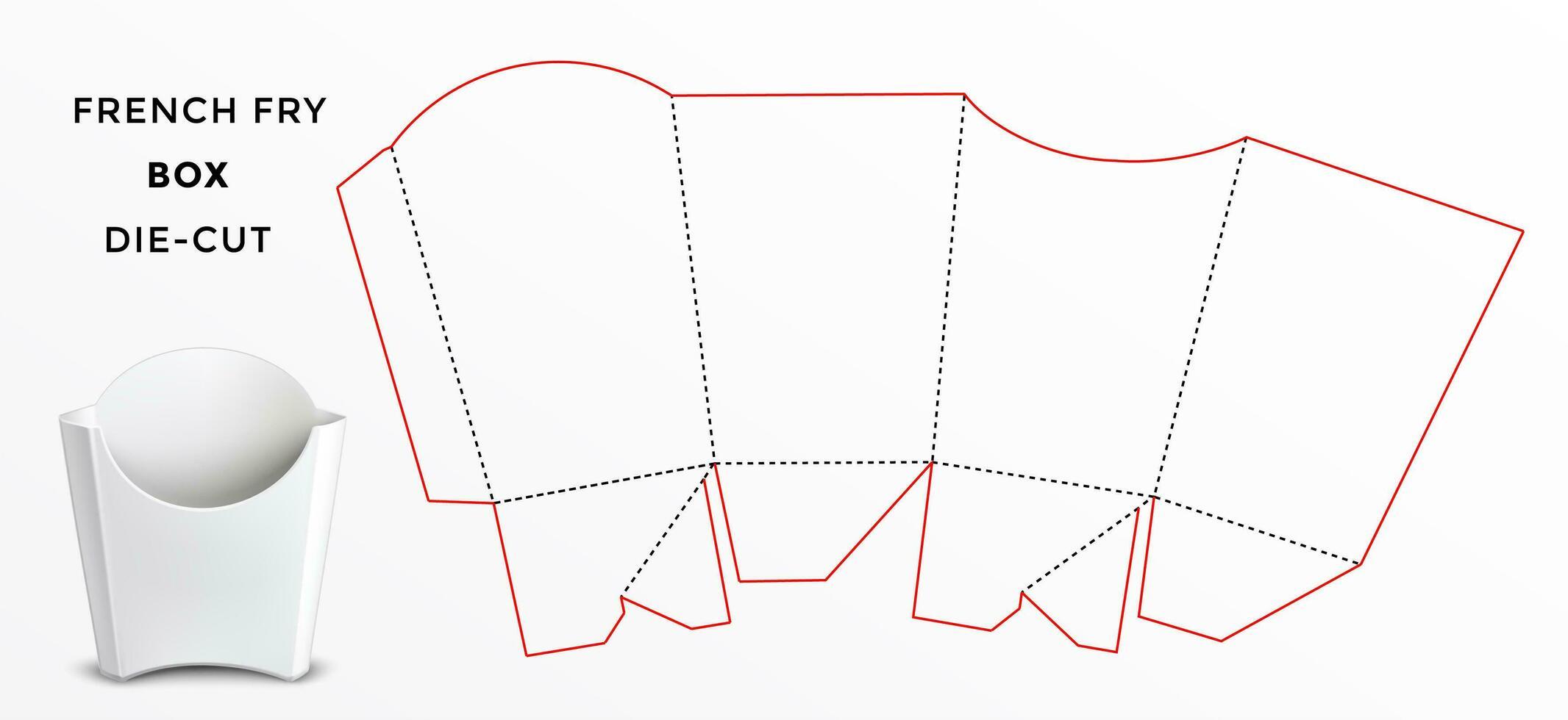 French Fry Box verpakking gestanst sjabloon vector