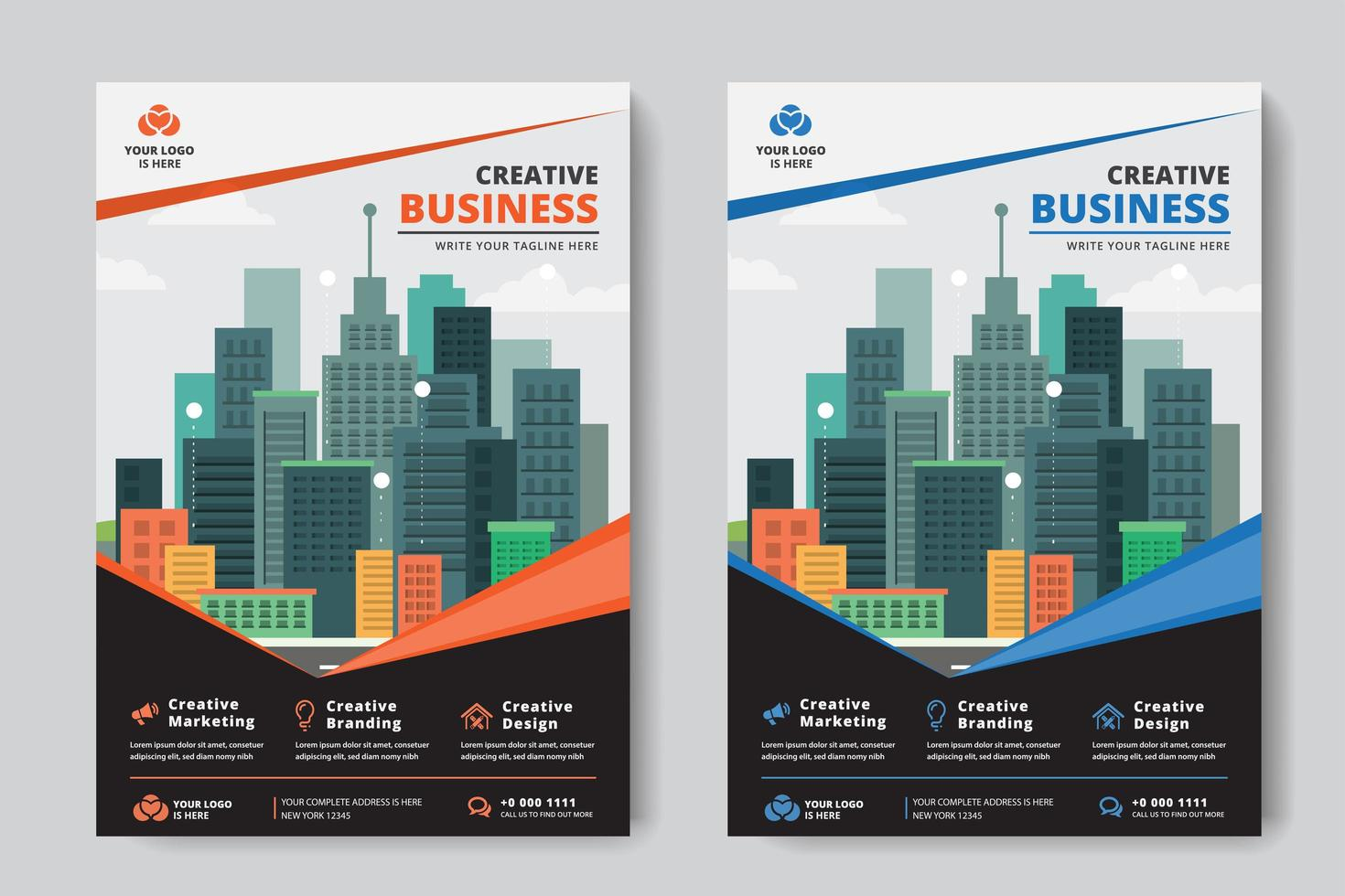 Business Flyer A4-formaat 2 Flyers Oranje en blauw hoekontwerp vector