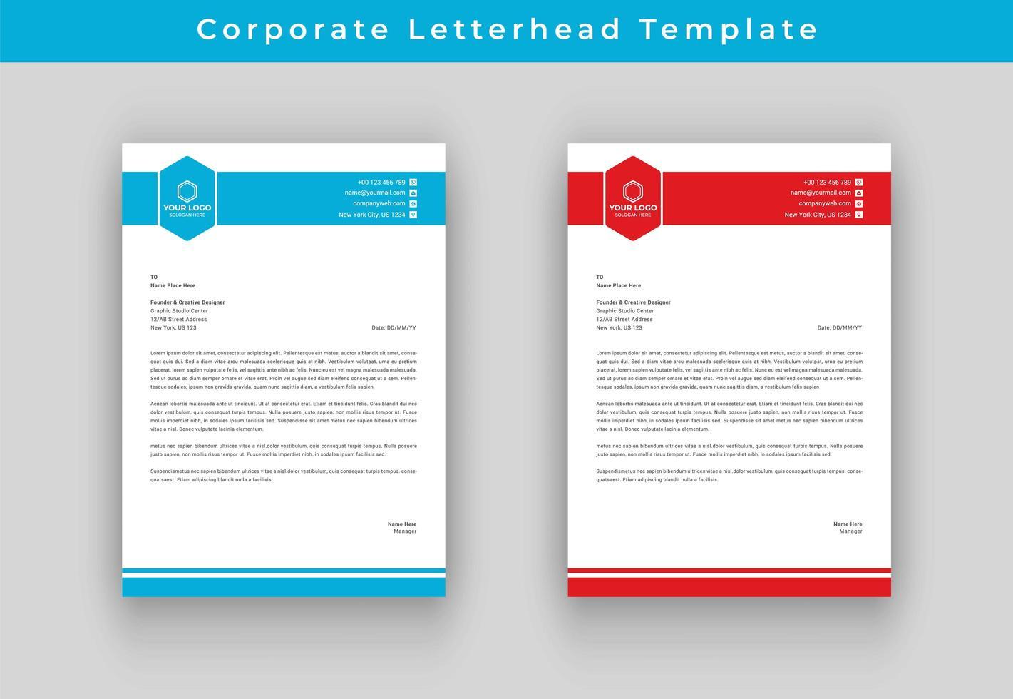 Rode en blauwe rand zakelijke briefpapier vector