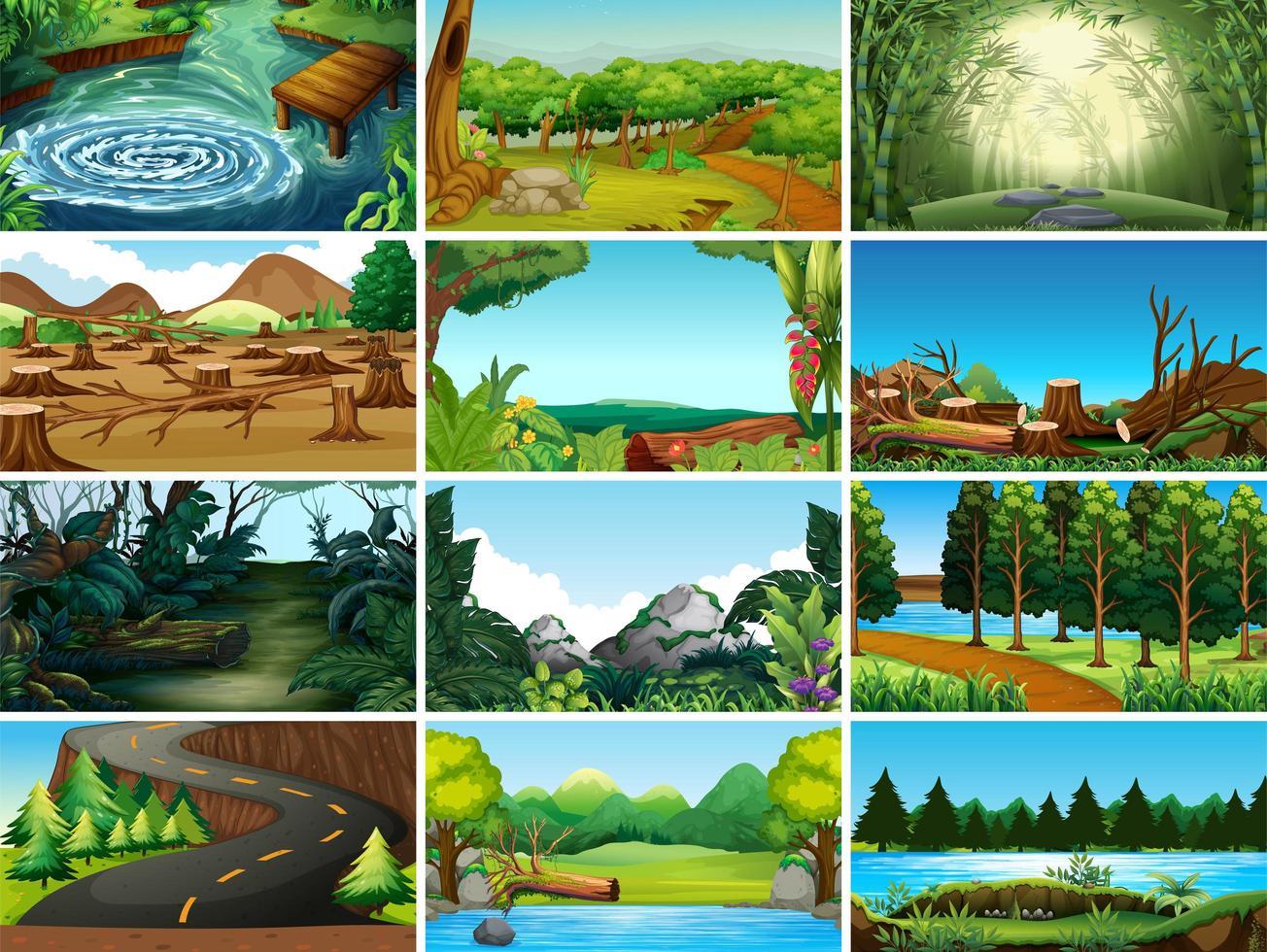 Set van landschapsscènes vector